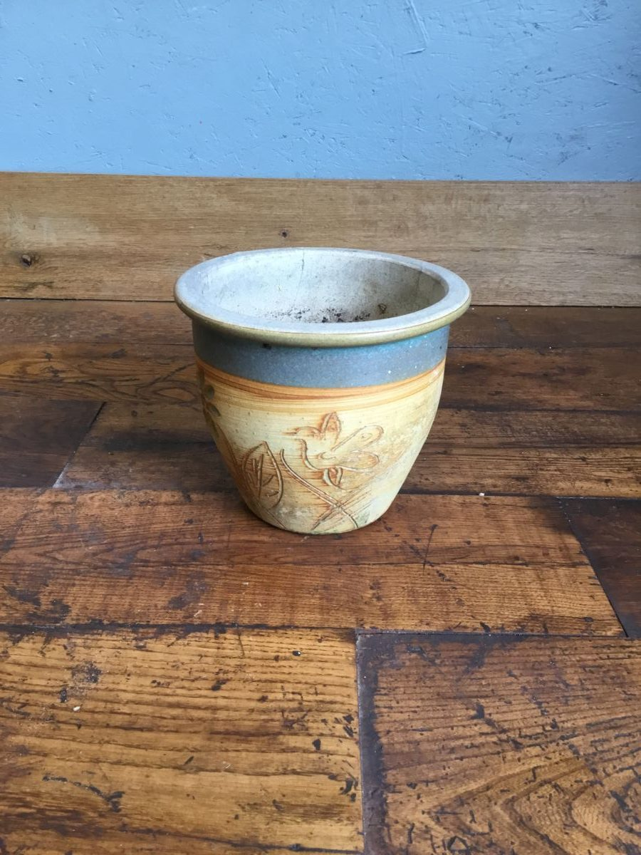 Beige Pot With Blue Band