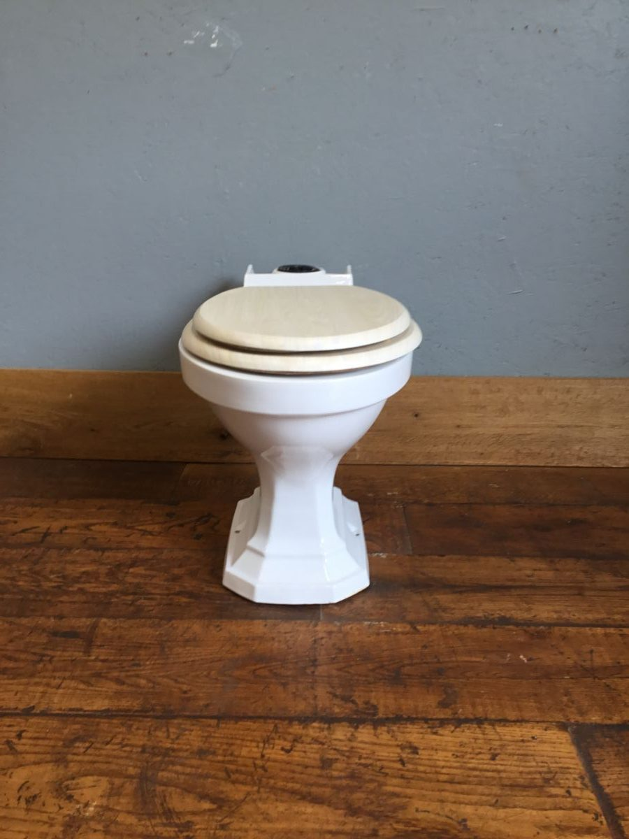 White Six Sided Toilet & Pale Seat
