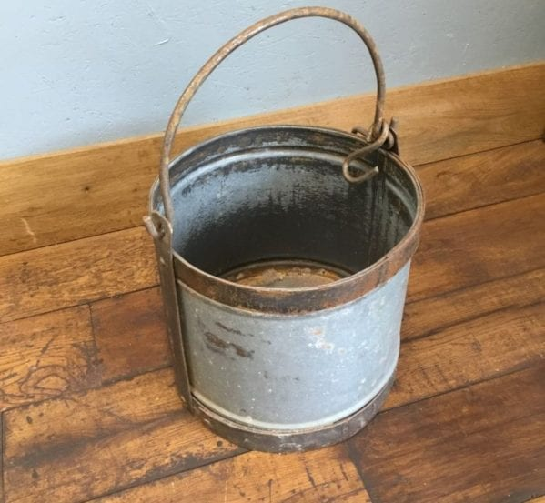 Wide Tin Bucket With Copper Handle