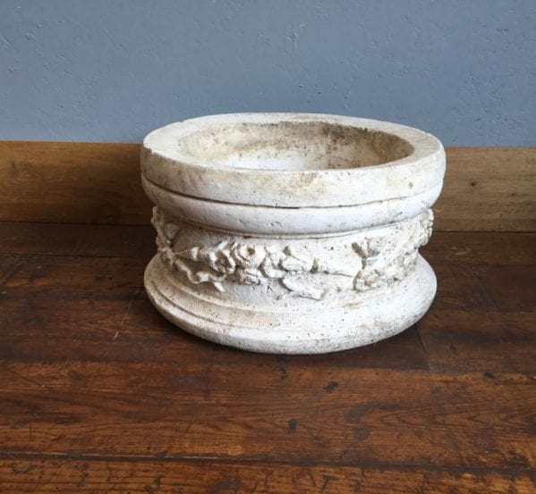 Large Round Stone Floral Planter