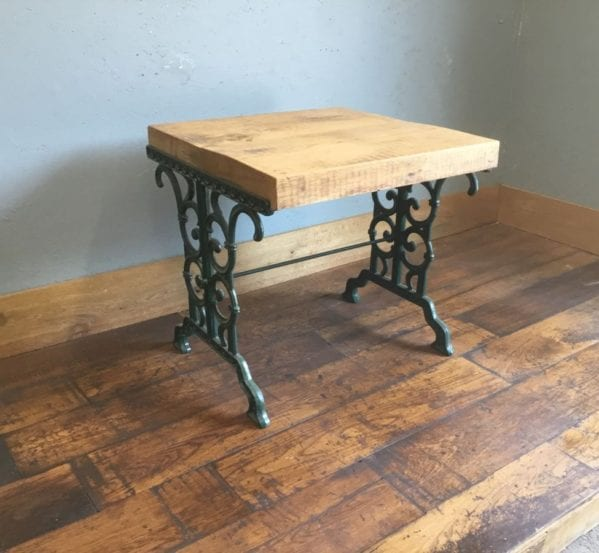 Up-Cycled Cast Iron Legged Oak Table