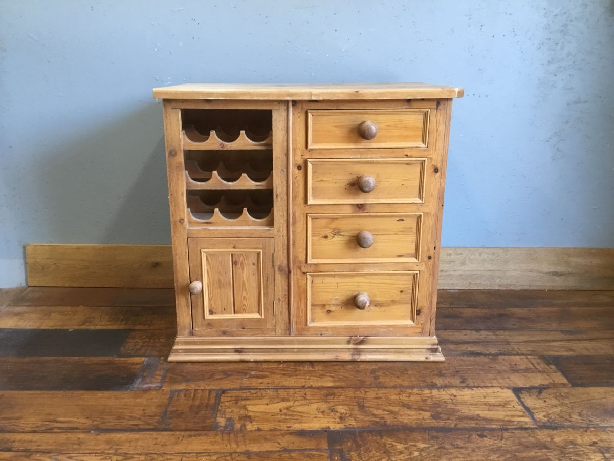 Pine Kitchen Cabinet & Wine Rack