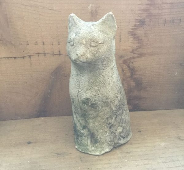Reclaimed Stone Cat Feature Statue