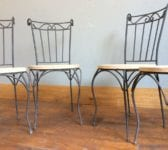 Iron & Oak Set of Four Chairs