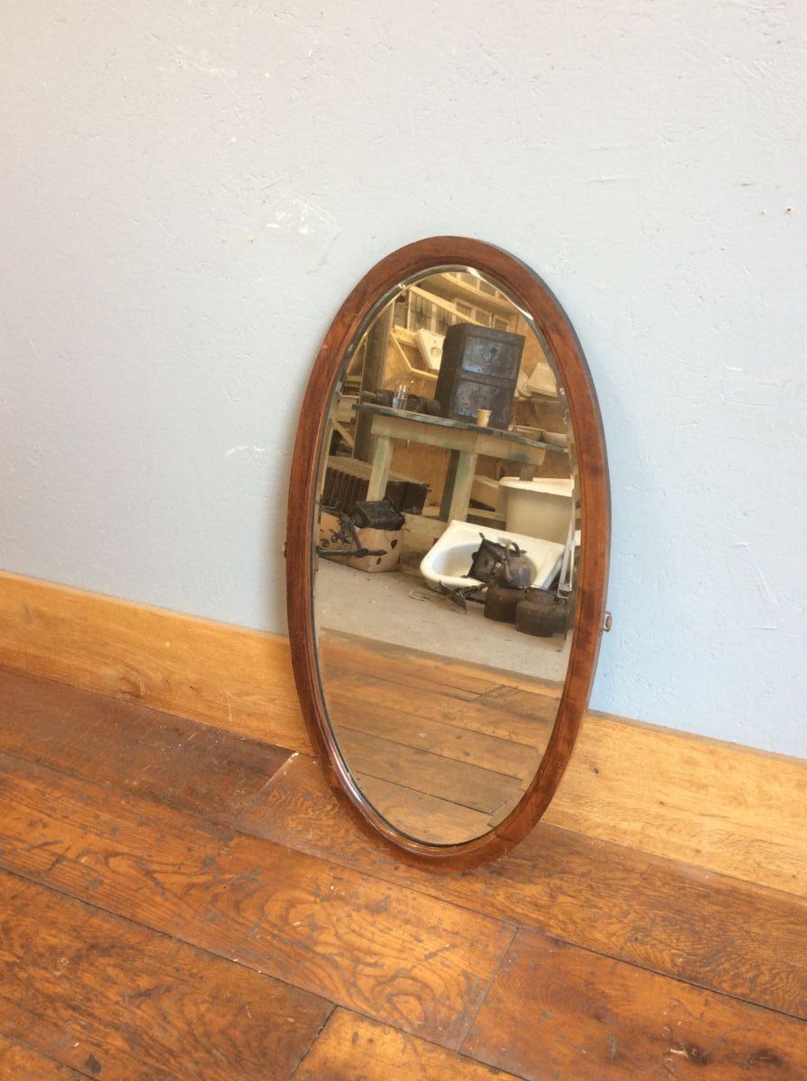Oval Wooden Framed Mirror