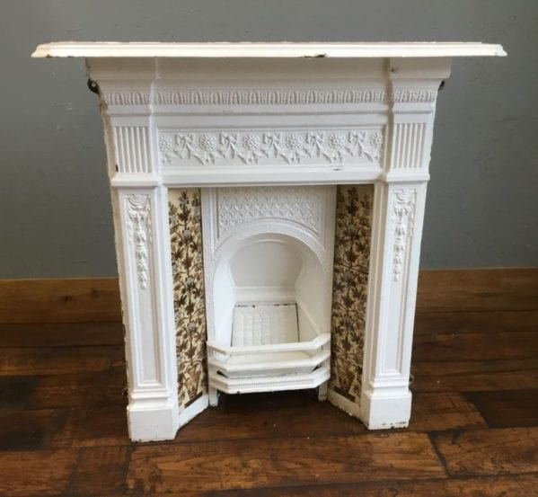 Cast Iron Fireplace Floral Tiles
