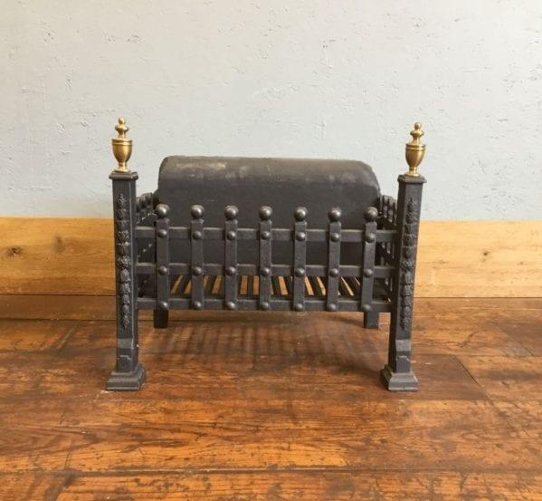 Cast Iron Fire Basket With Brass Finials