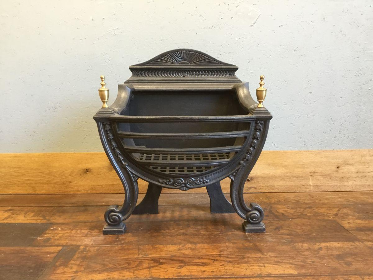 Cast Iron Fire Basket & Brass Finials