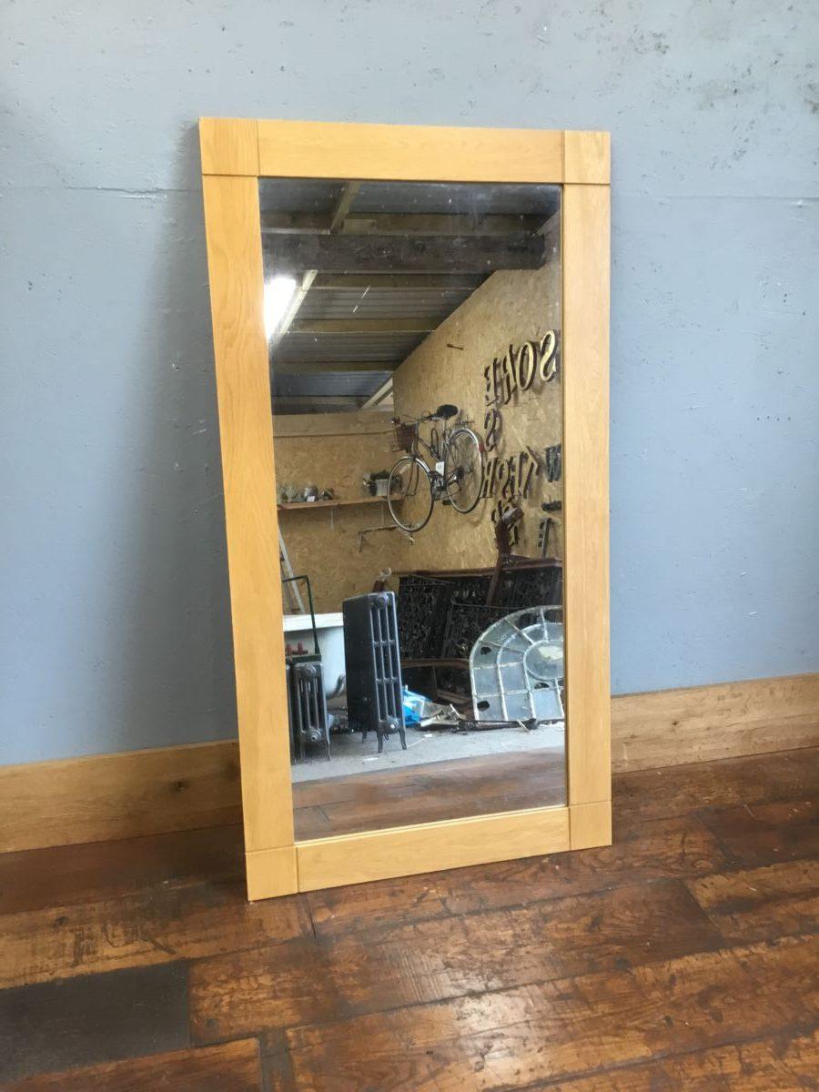 Large Light Wood Framed Mirror
