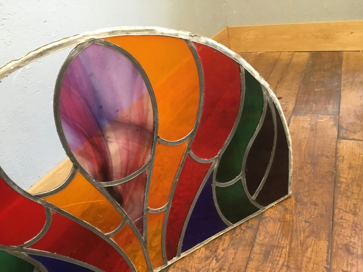 Half Round Leaded Stained Glass Window Authentic Reclamation