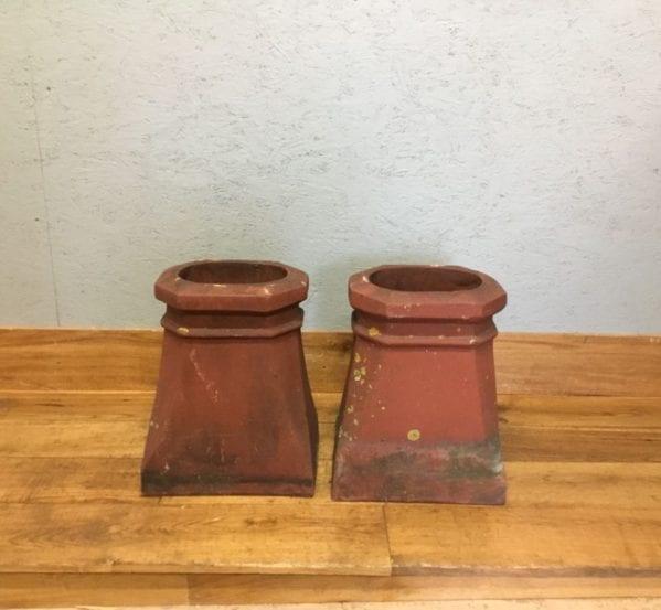 Square Based Terracotta Chimney Pots (Pair)