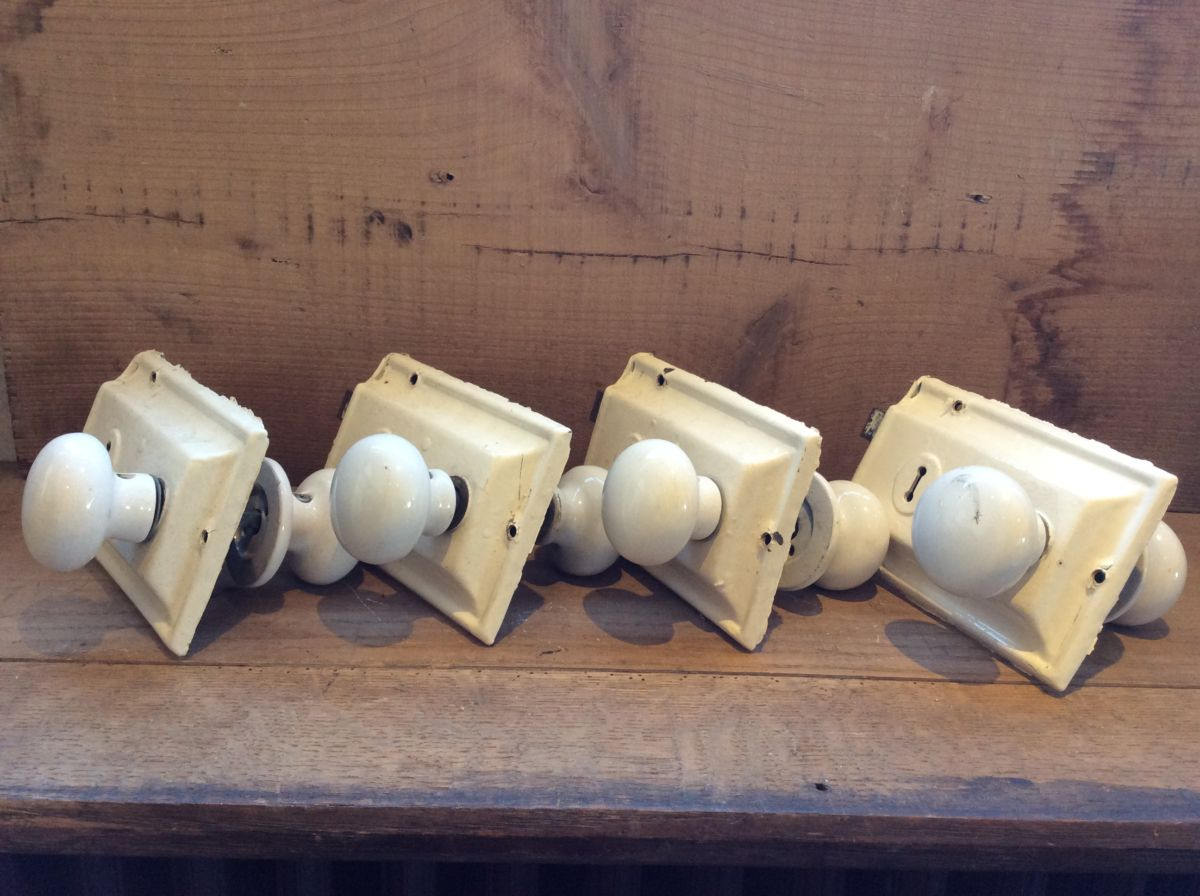 4 x White Door Knobs and Their Original Mech