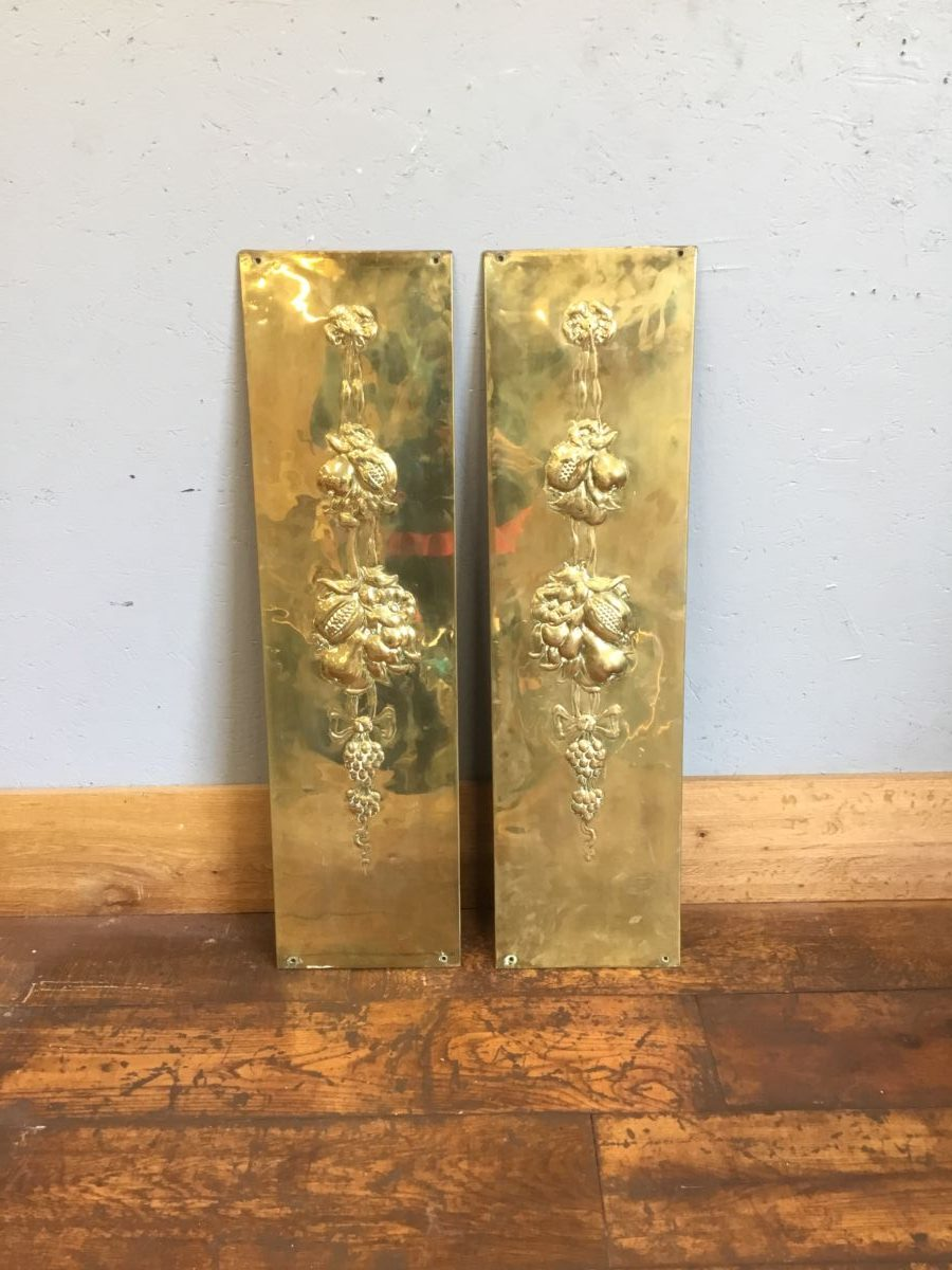 Embossed Brass Fireplace Panels