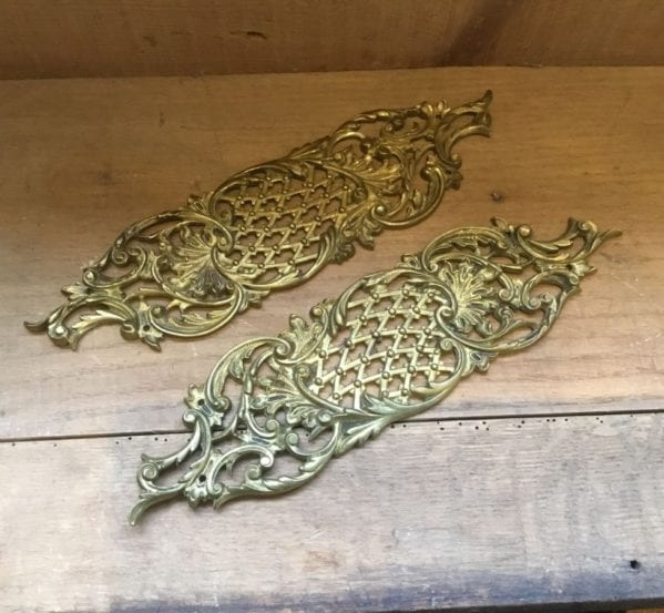 Solid Brass Ornate Lattice Push Plates