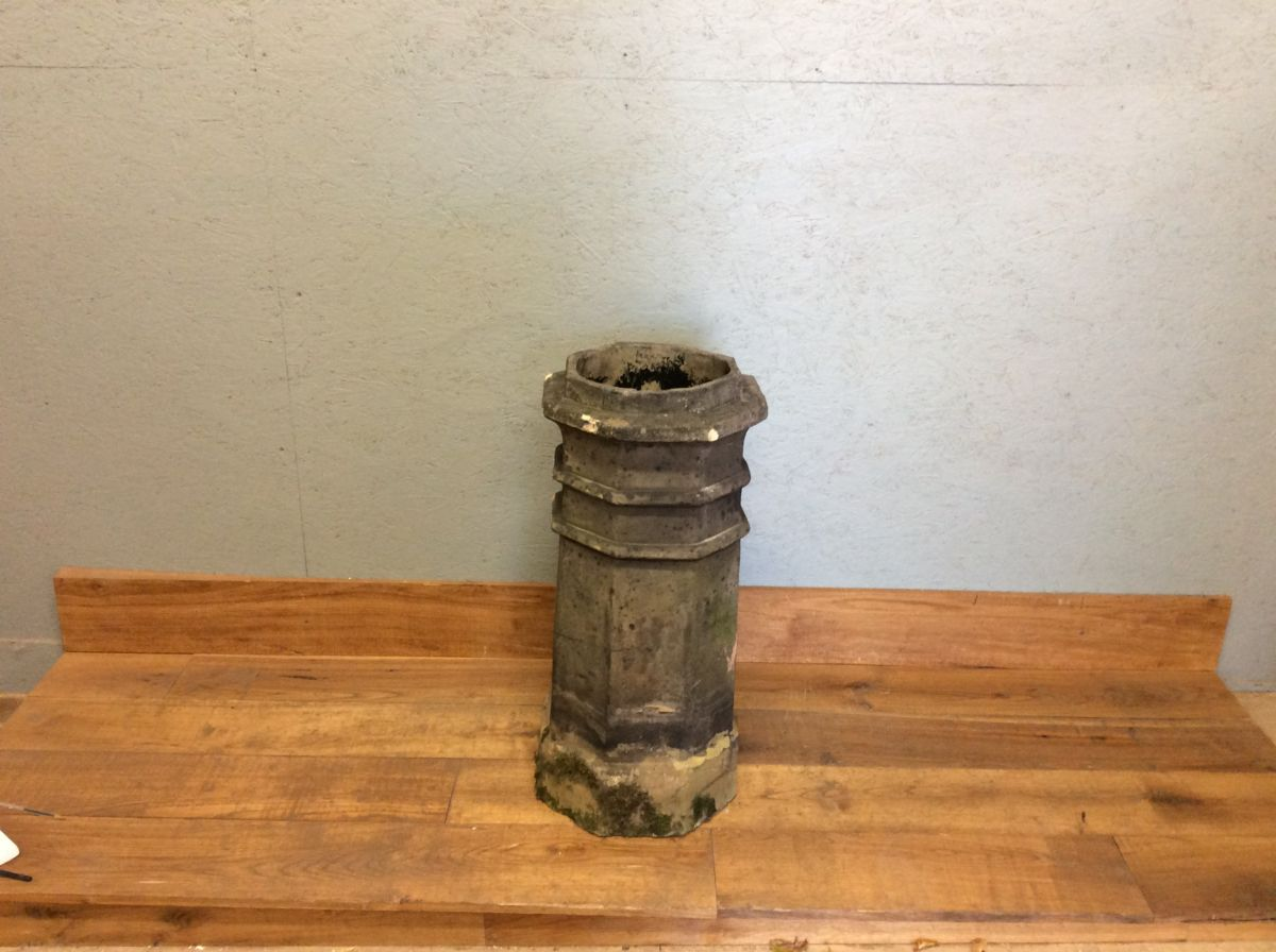 Tall Octagonal Grey Chimney Pot