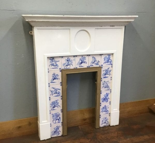 White & Blue Tiled Cast Iron Fire Surround