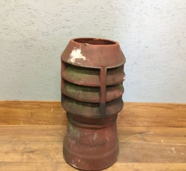 Short Terracotta Reclaimed Louvred Chimney Pot