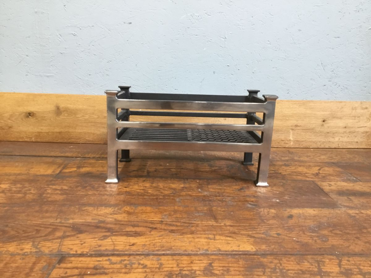 Chrome Fronted Cast Iron Fire Basket