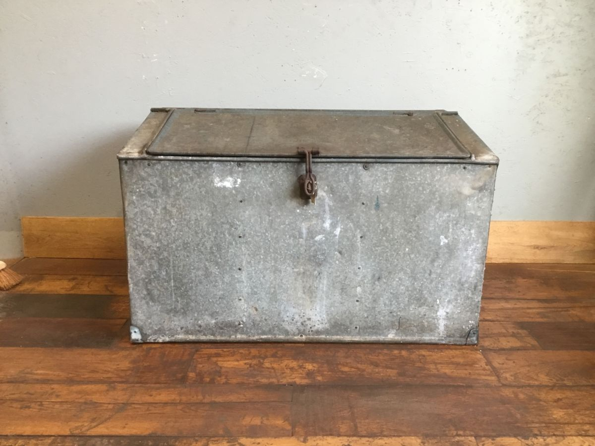 Reclaimed Large Galvanised Metal Feed Bin