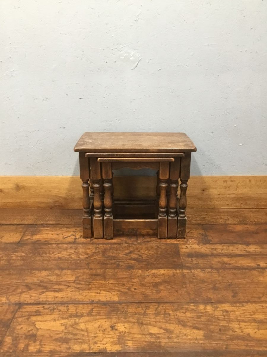 Nest of Three Oak Tables
