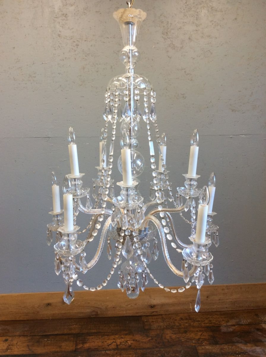 Reclaimed Ornate Glass Chandelier