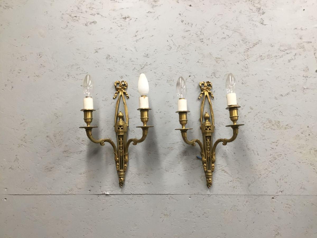 Ornate Brass Double Light Pair