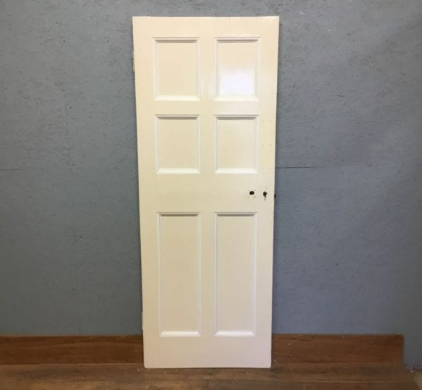 6 Panelled White Painted Reclaimed Internal Door