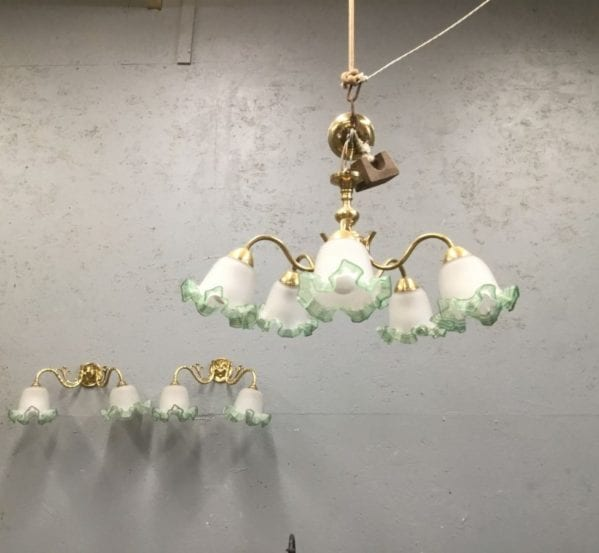 Brass Frilled Edge Lighting Set