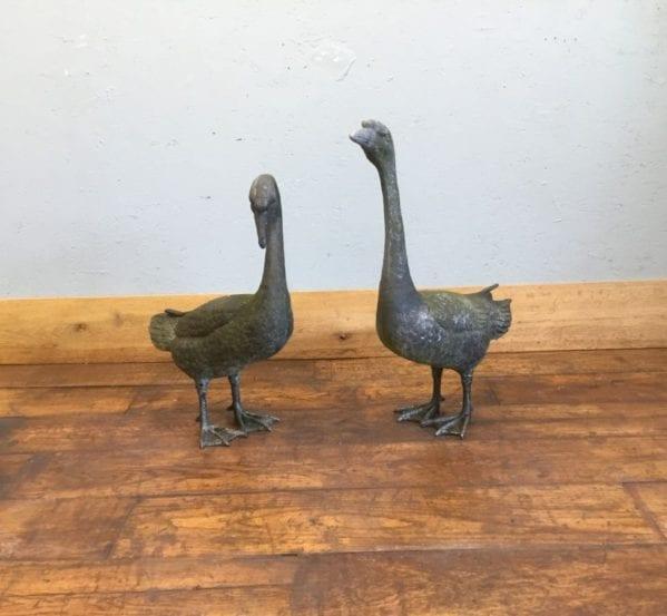 Metal Geese Pair