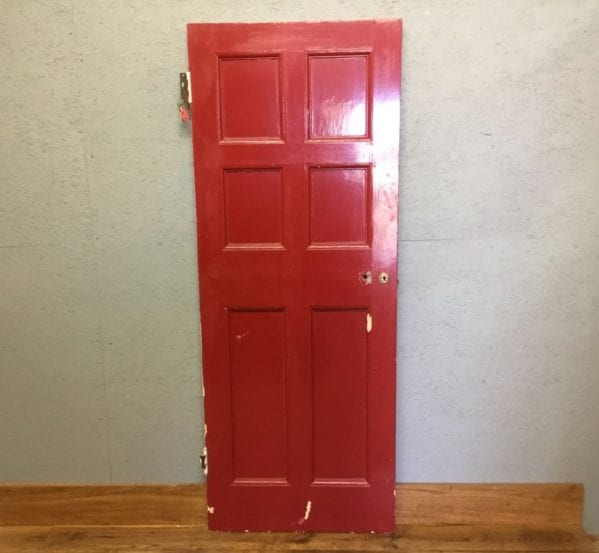Red Painted Internal 6 Panel Door