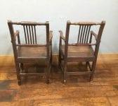 Dark Wood Armed Chairs