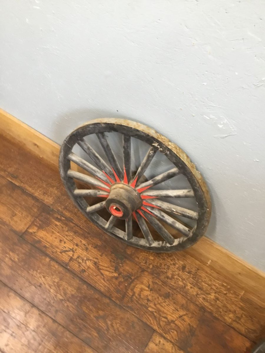 Black Painted Wooden Wheel With Metal Trim
