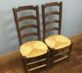 Rush Seat Chair Pair
