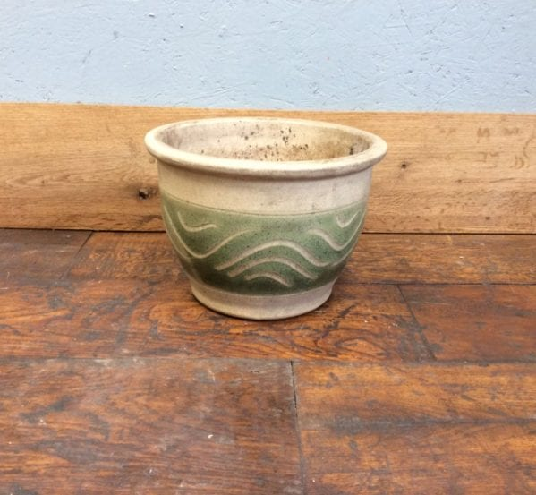 Beige & Green Decorative Plant Pot