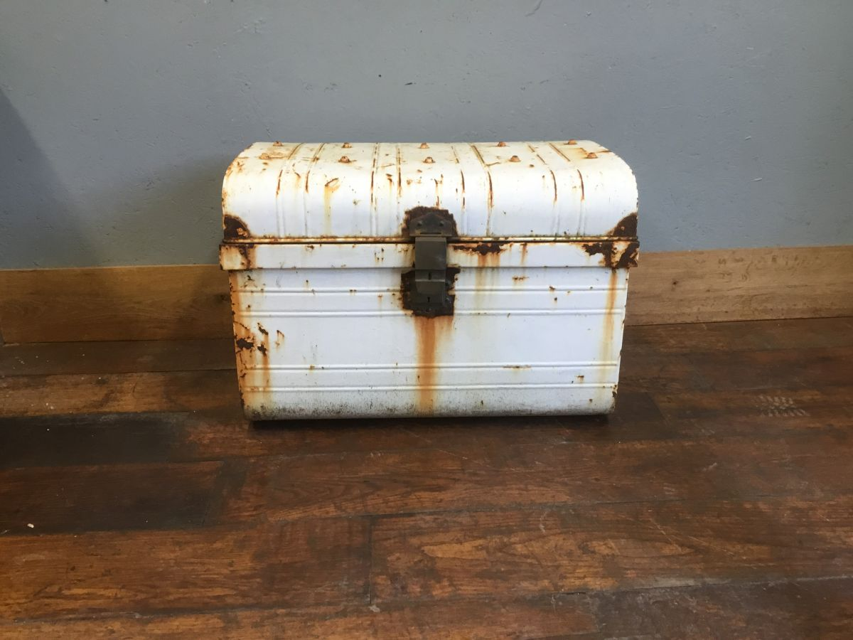 Rustic White Metal Trunk