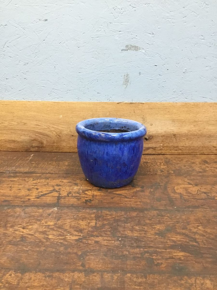 Blue Glazed Small Flower Pot