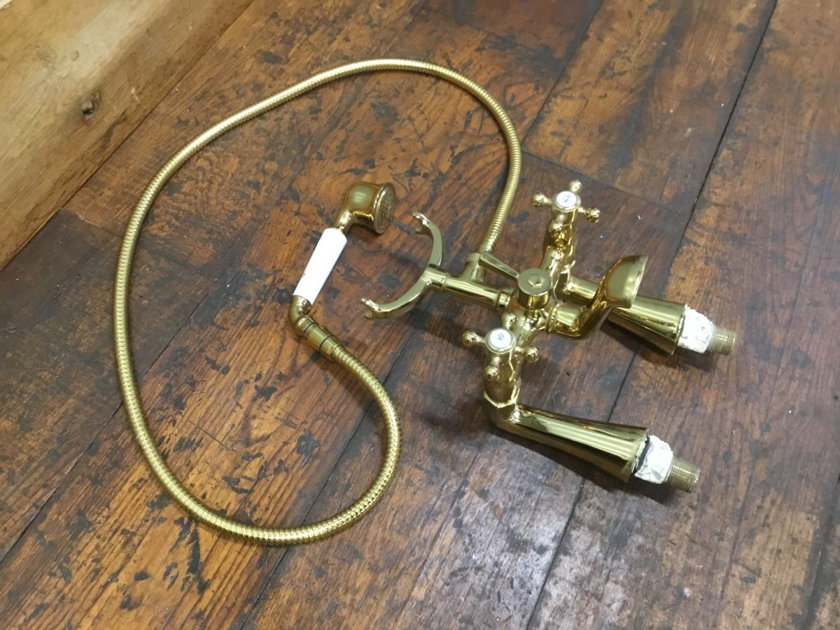 Brass Finish Telephone Tap Set