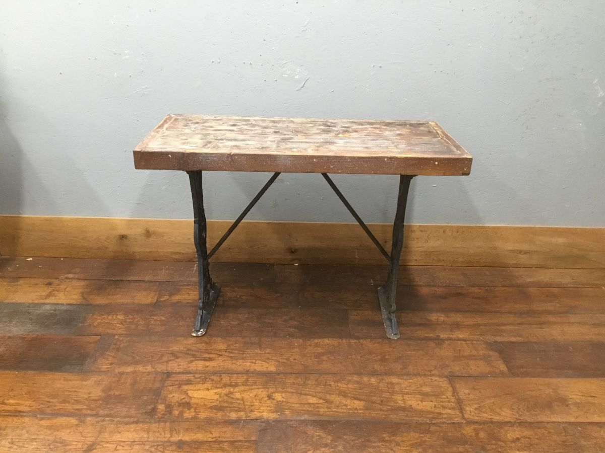 Cast Iron Wooden Top Table