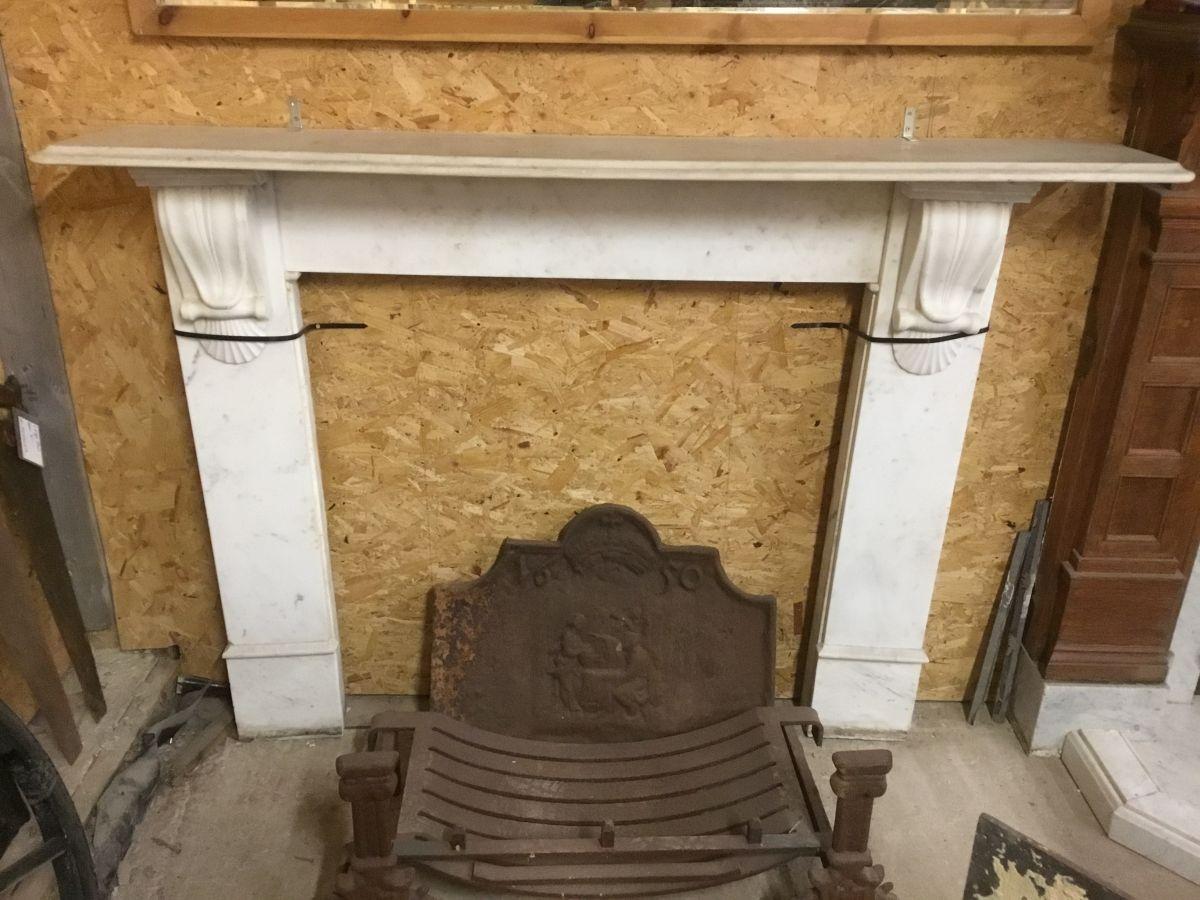 White Marble Scallop Detail Fire Surround