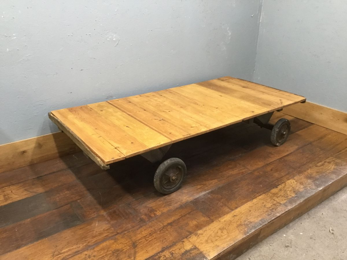 Industrial Pine & Iron Trolley Table