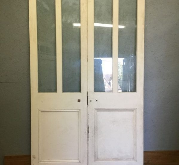 Extra Large Half Glazed White Double Doors