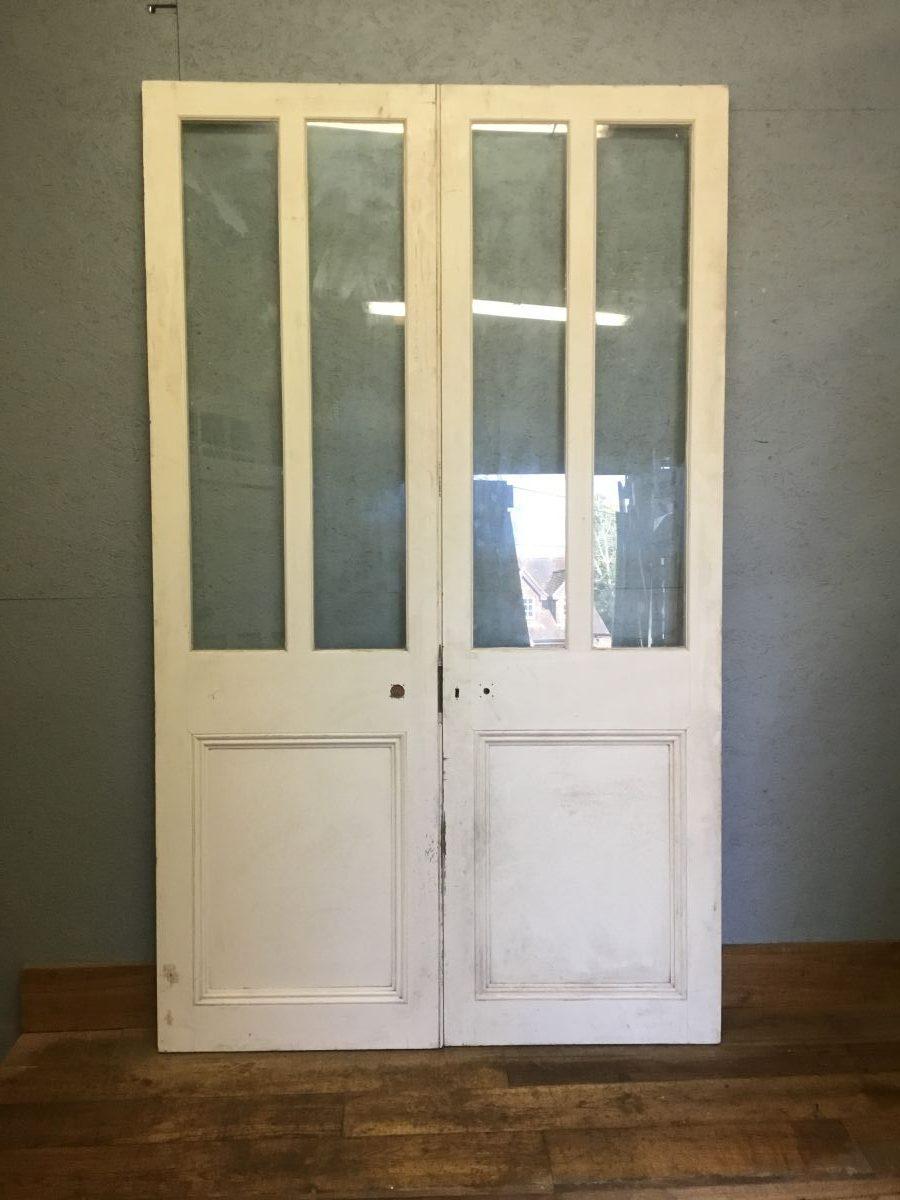 Extra Large Half Glazed White Double Doors