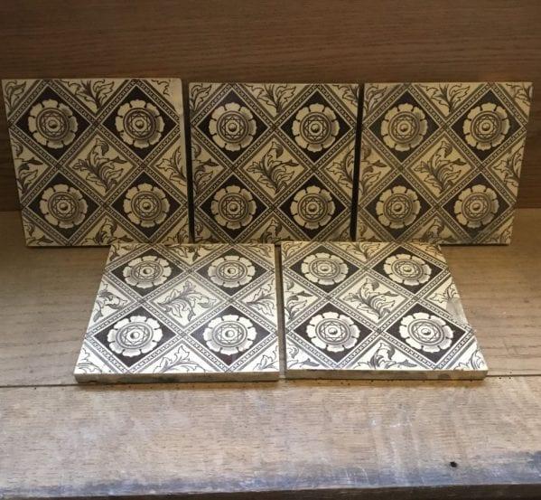 Brown & White Diamond Floral Pattern Tiles