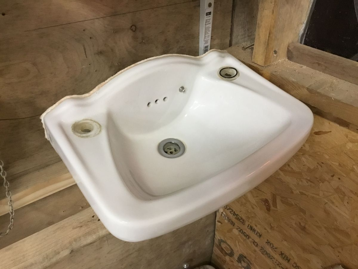Reclaimed Small Tapless Sink