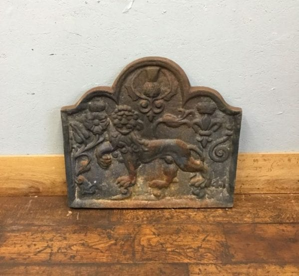 Rounded Lion Cast Iron Fire Back