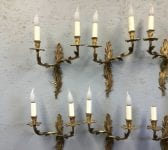 French Gilded Brass Wall Lights Pairs