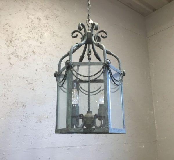 Patina Blue Scroll Detailed Lantern