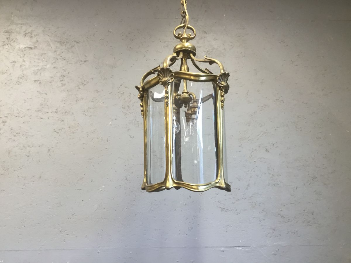 Gilded Brass Triple Light Lantern
