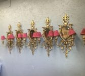 Large Brass Mirrored Sconces
