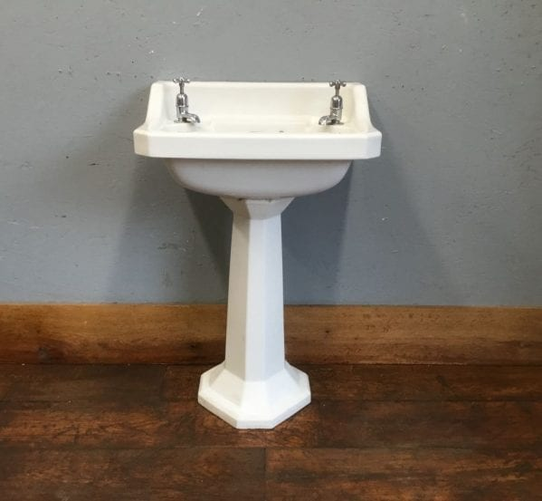Six Sided Off White Hand Basin & Pedestal